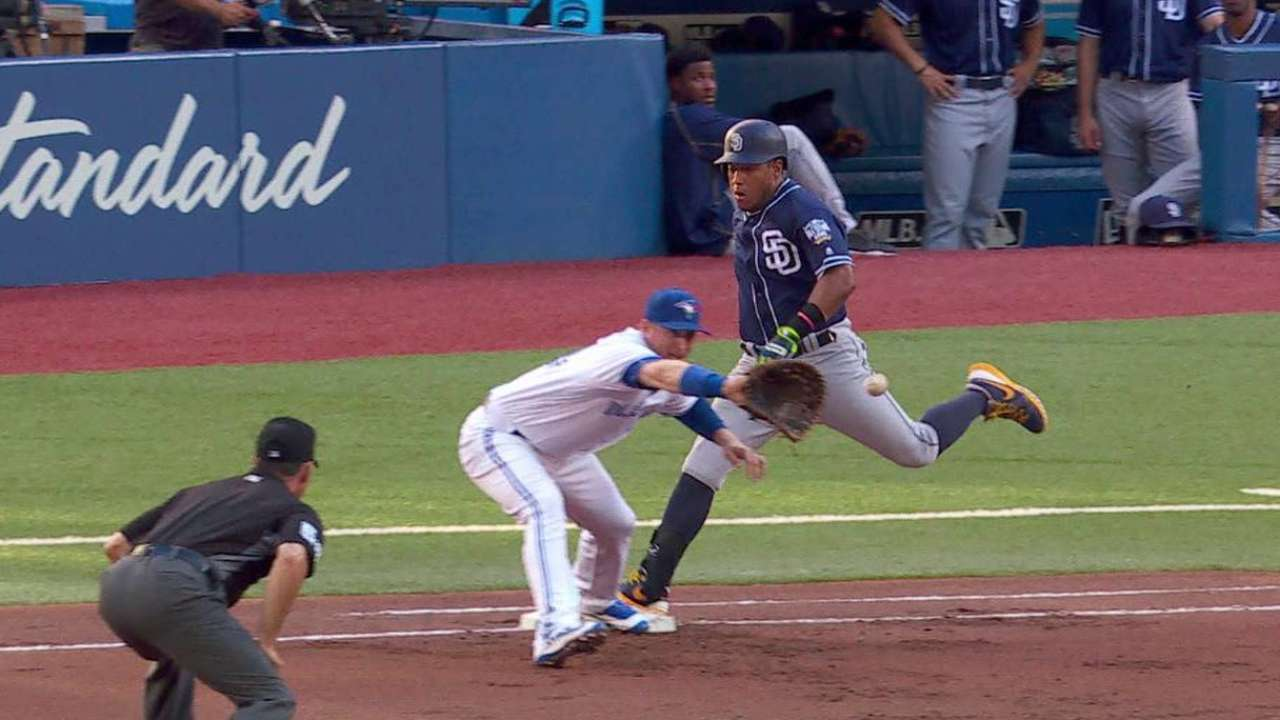 Padres challenge call at first