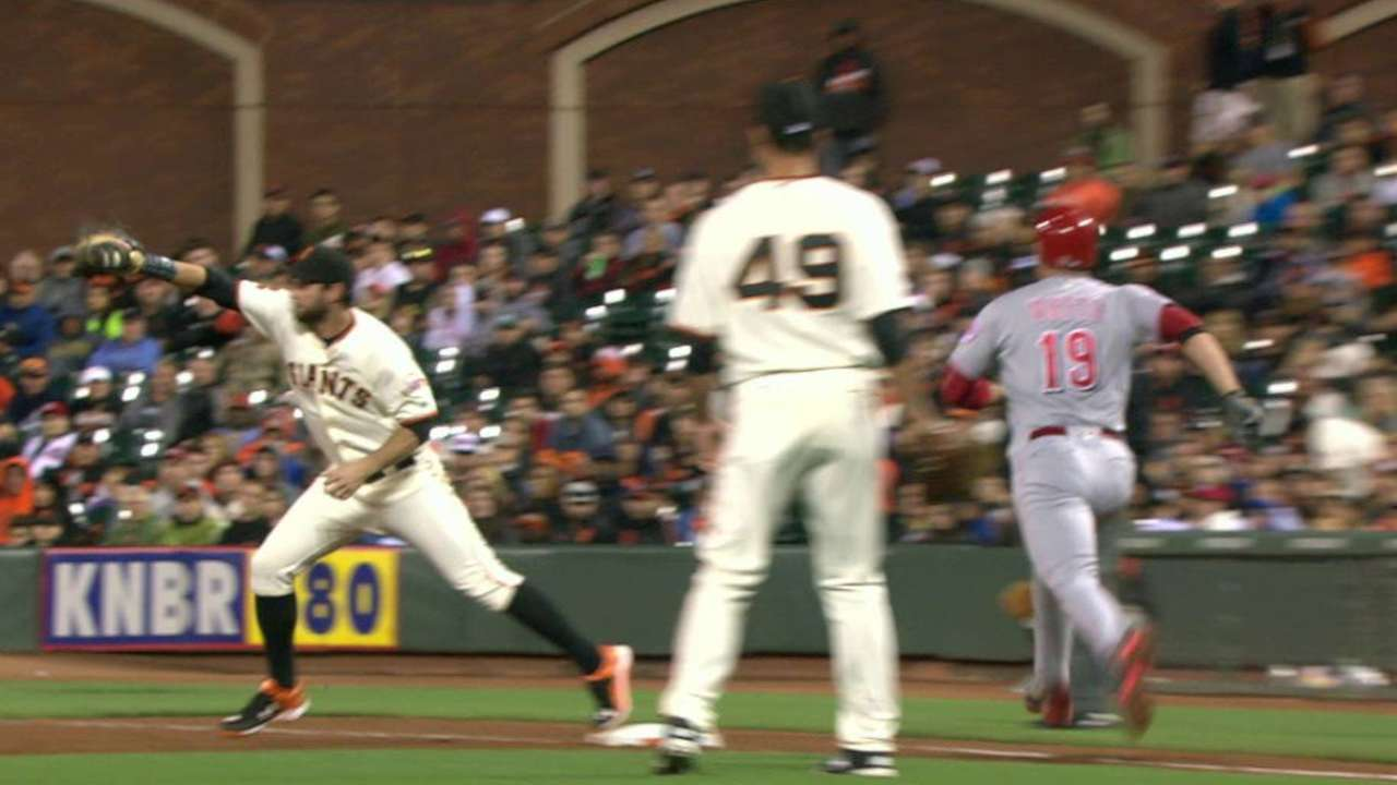 Giants challenge call at first