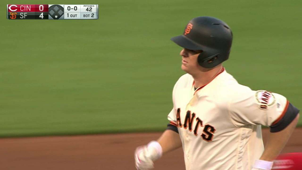 Giants hold off Reds after Cain's homer