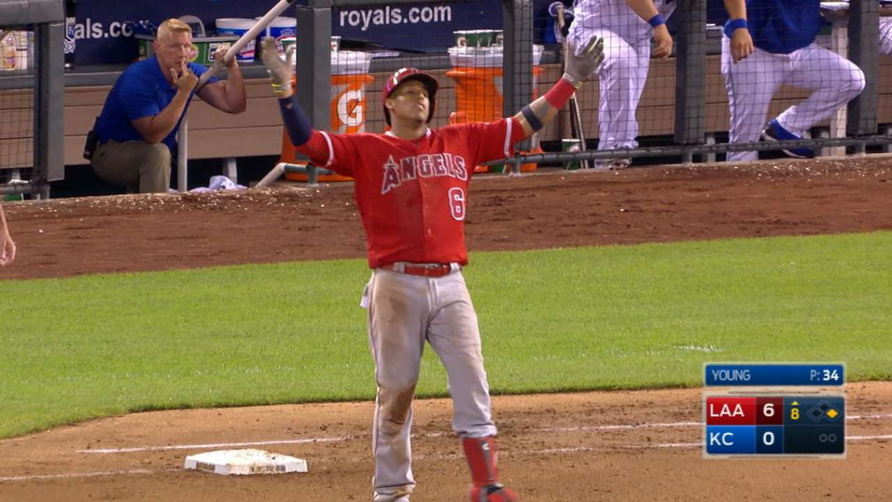 Angels ride 22-hit attack to series win over Royals