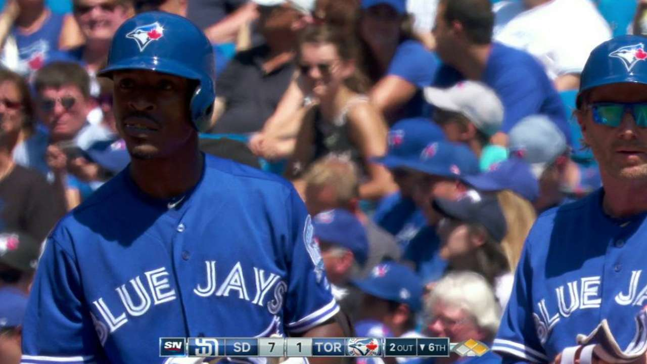 Upton Jr.'s first Blue Jays hit