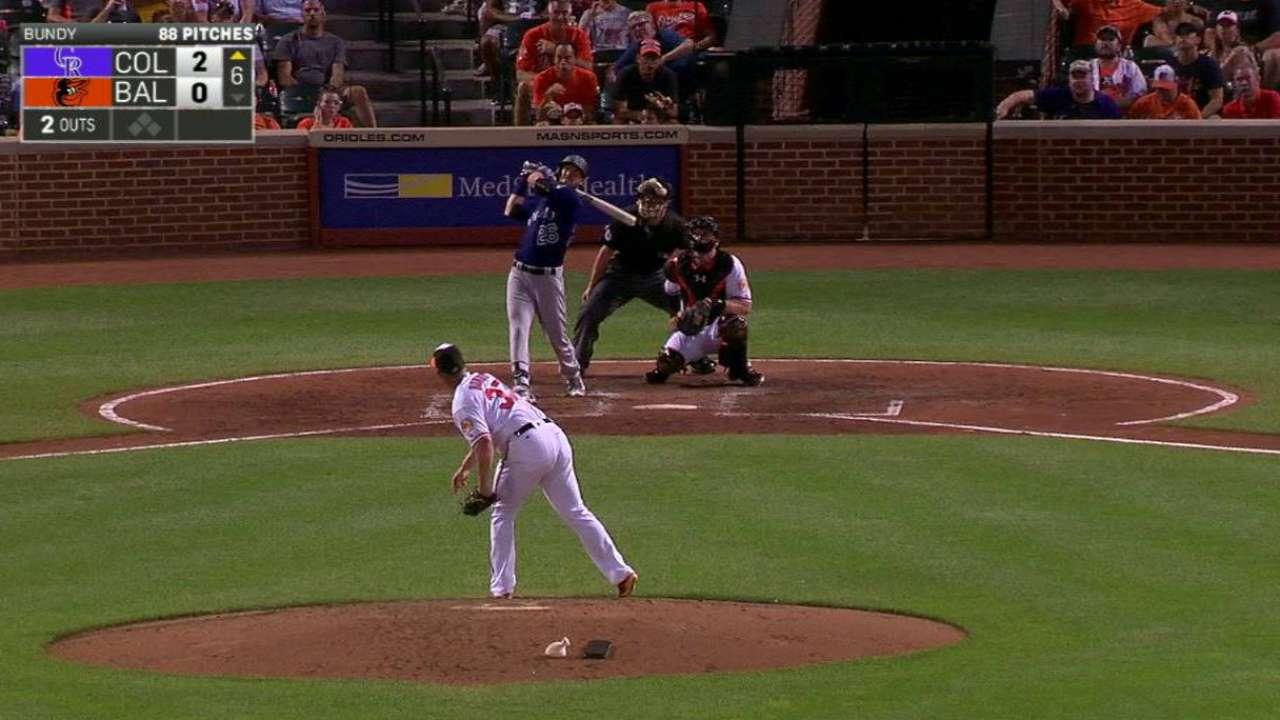 Prospect Dahl blasts first Major League HR