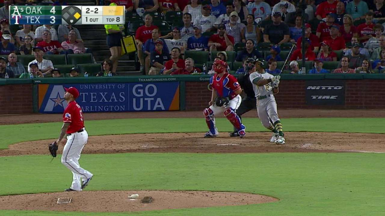 Davis homers twice as A's rally in Texas
