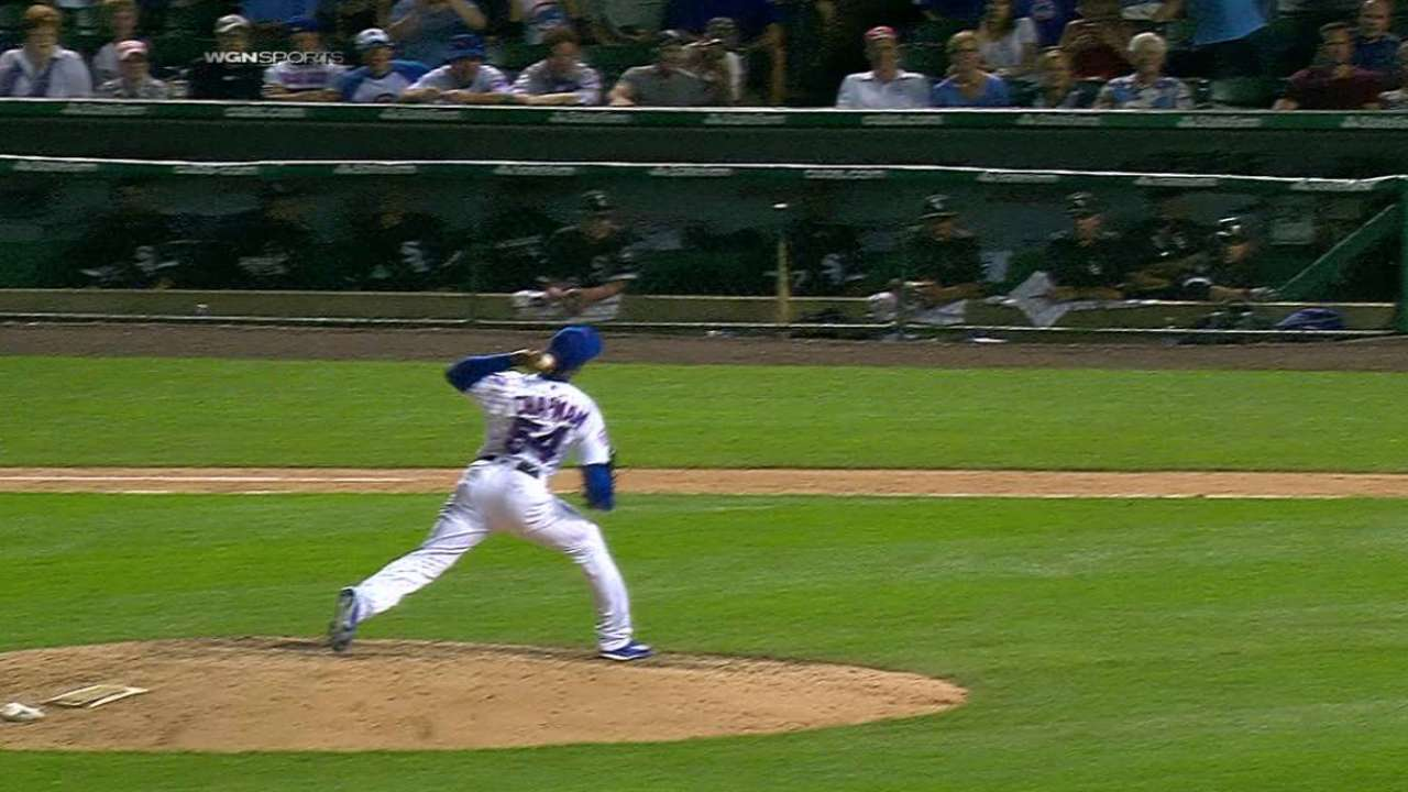 Chapman's first strikeout as Cub