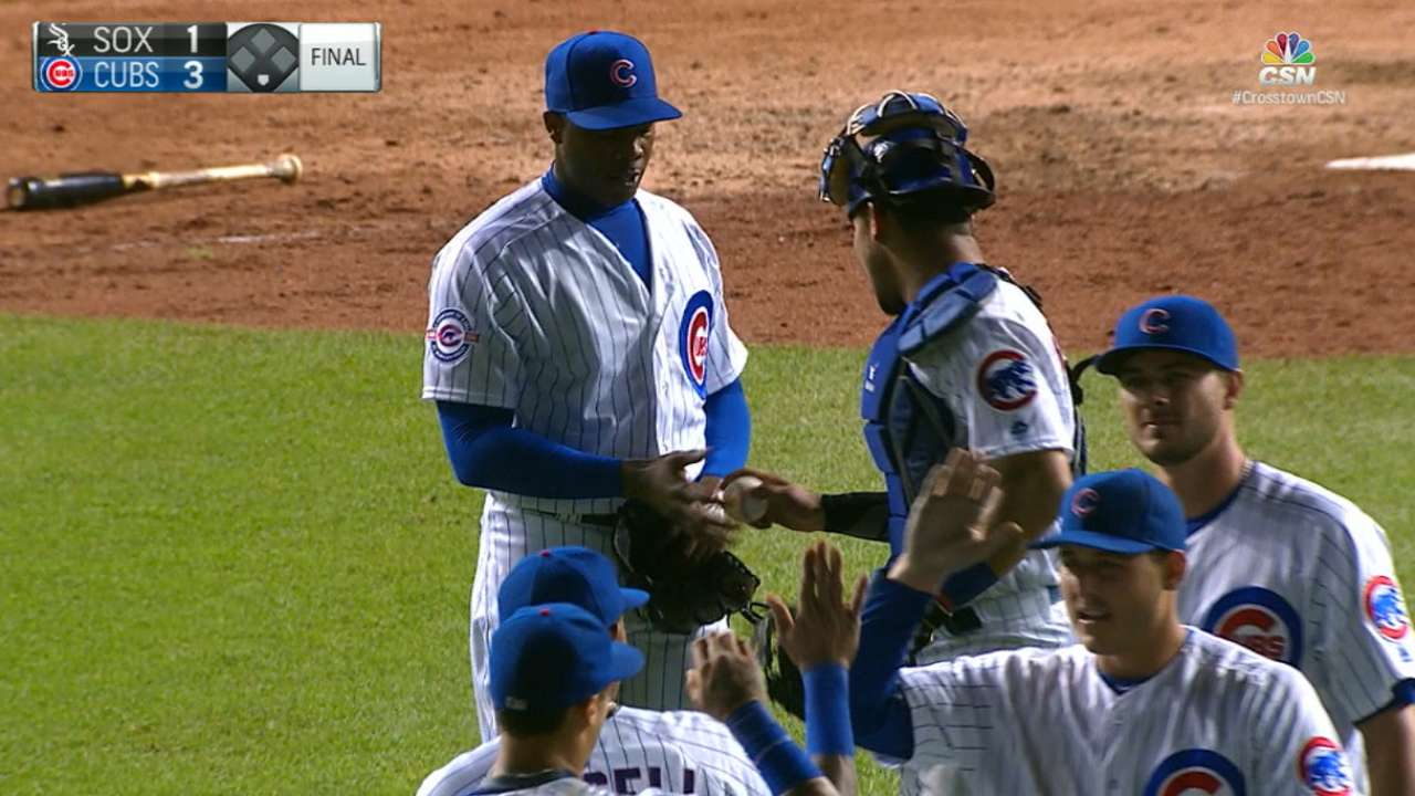 Chapman's grand first Cubs save