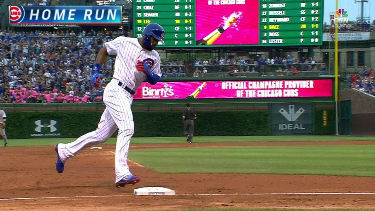 Heyward breaks out with HR in 3-RBI showing