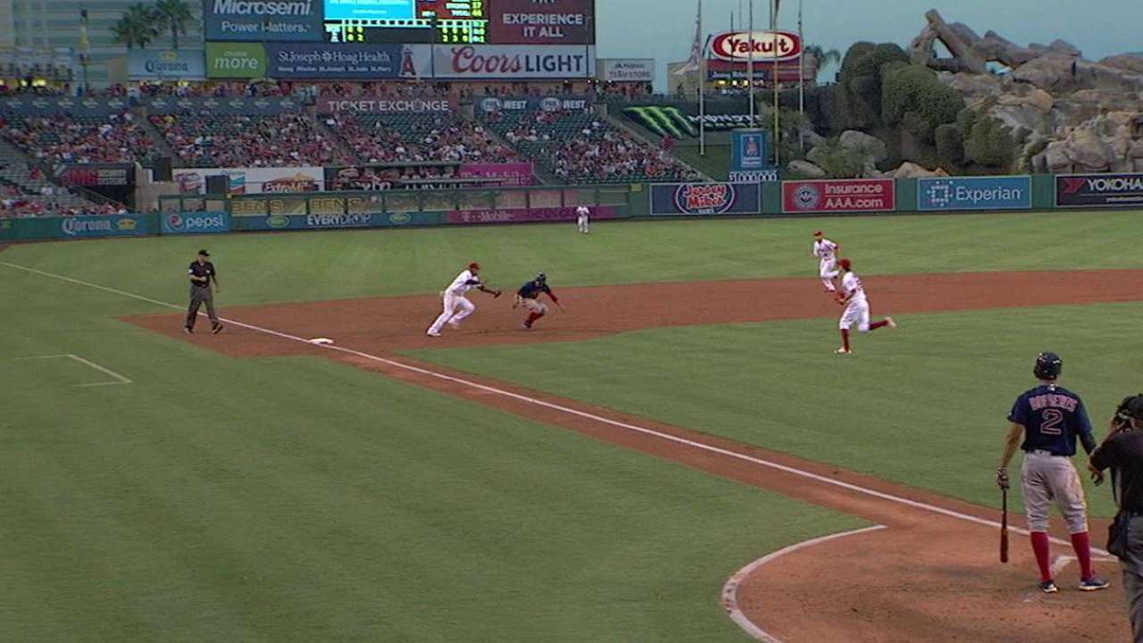 Angels catch Betts stealing