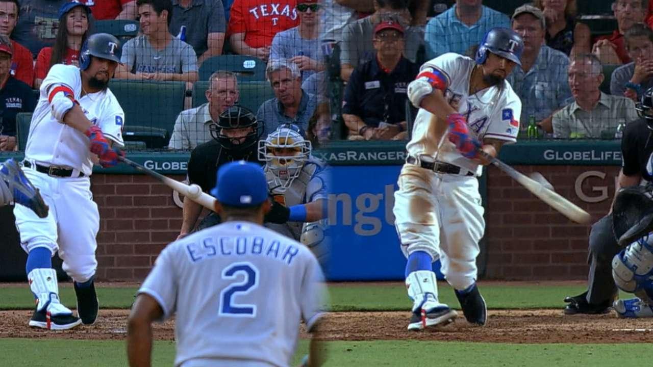 Odor's 2 homers power Rangers past Royals