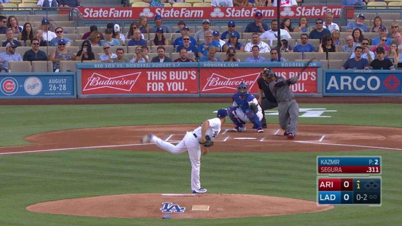 Segura da HR y ayuda a Shipley a vencer a Dodgers