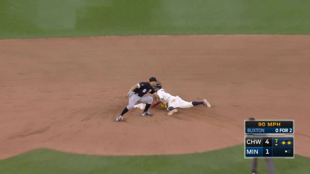 Santana steals second base