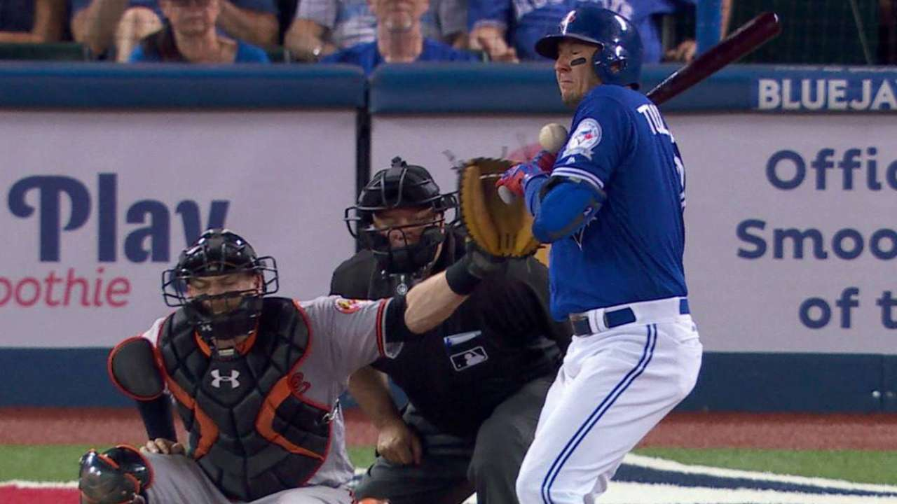 Tulo has small chip fracture in thumb after HBP