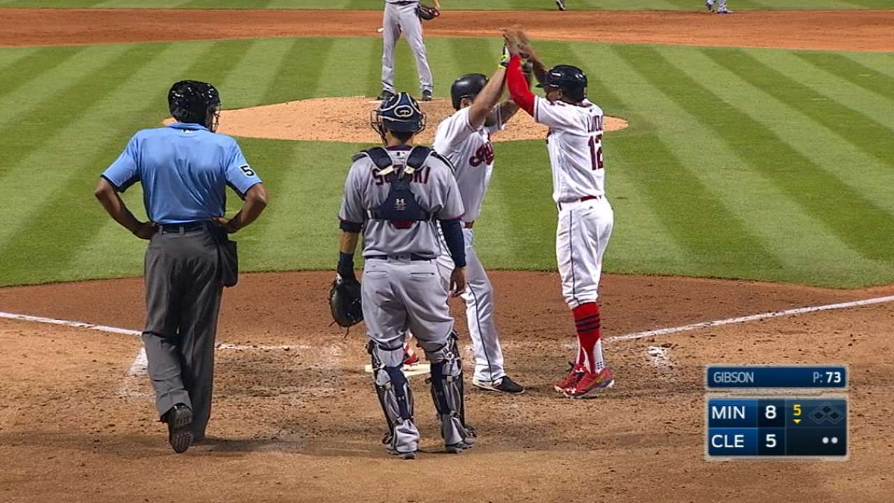 Indians' six-run frame