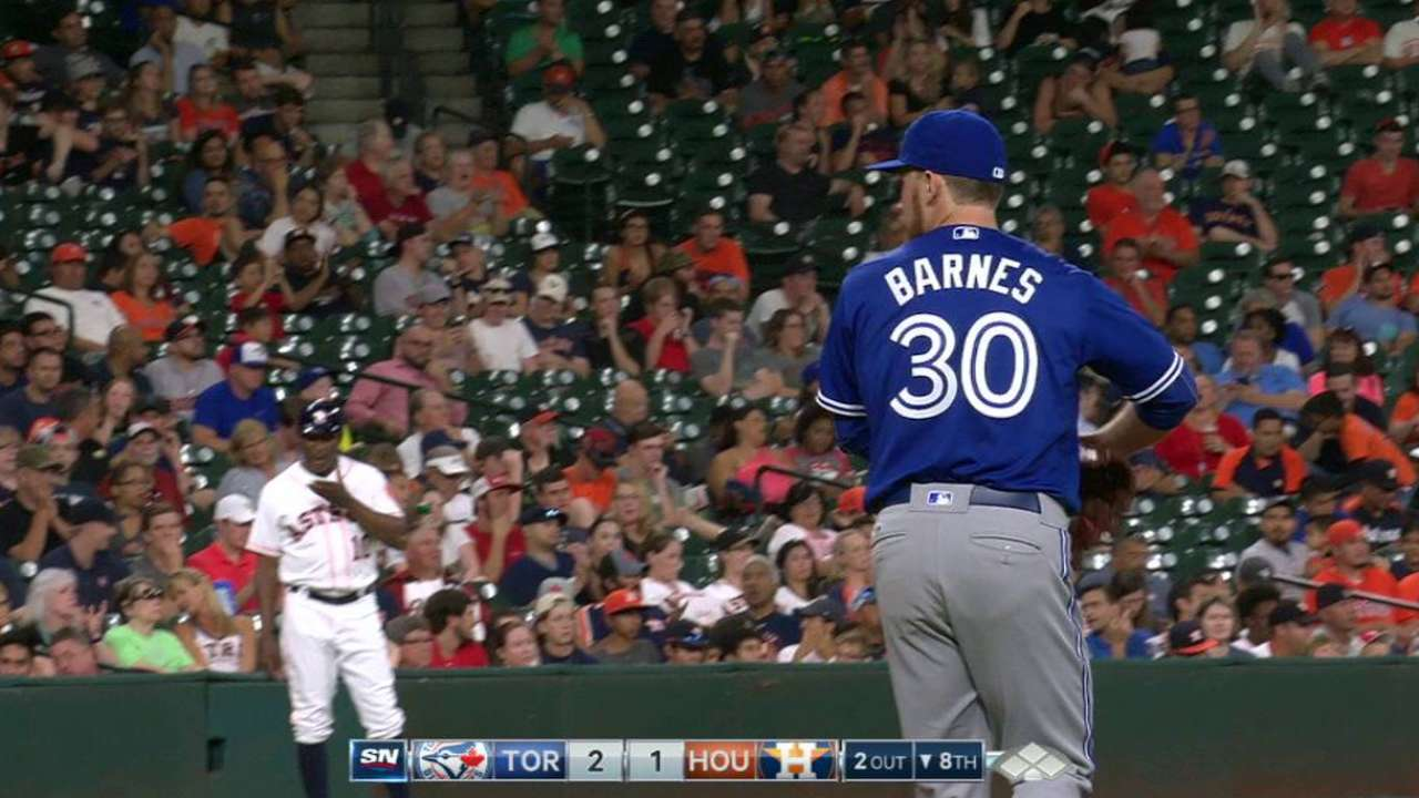 Barnes' first career strikeout