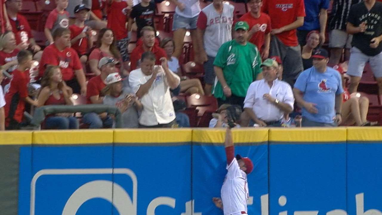'Right' fit? Schebler robs HR in position shift