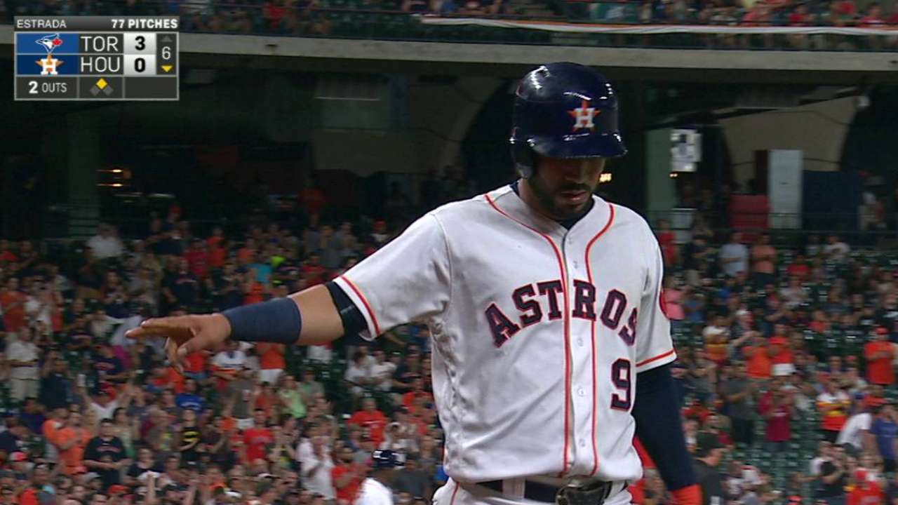 Astros held to Altuve's RBI 2B in loss to Jays