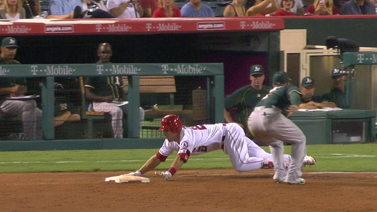 Trout's slide into first
