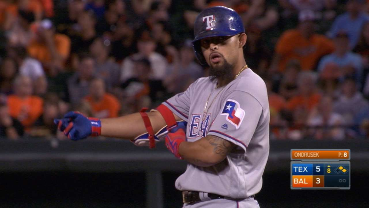 Rangers' six doubles