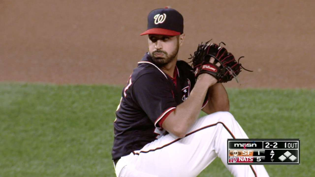 Nationals reward sharp Gio against visiting Giants
