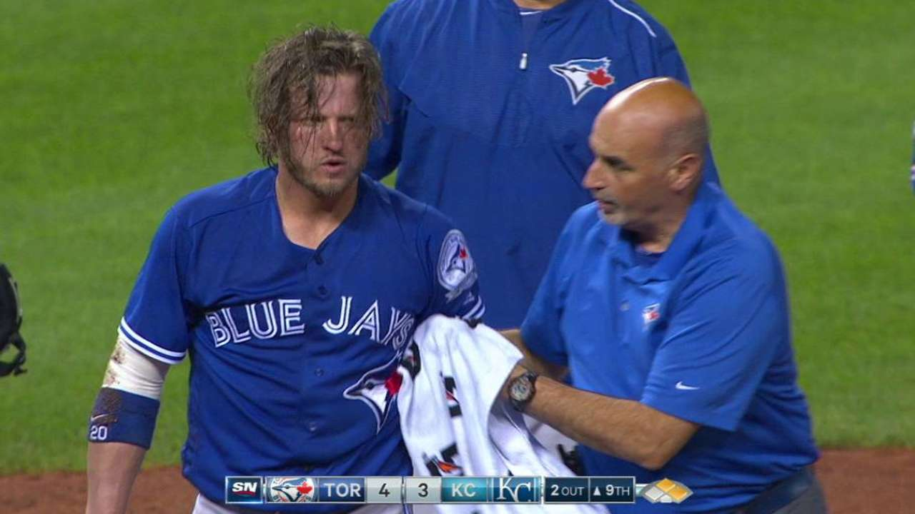 Donaldson OK after high HBP in win vs. Royals