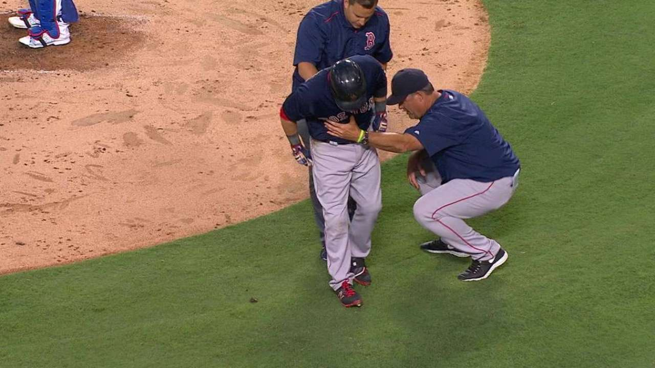Pedroia leaves game after fouling ball off leg