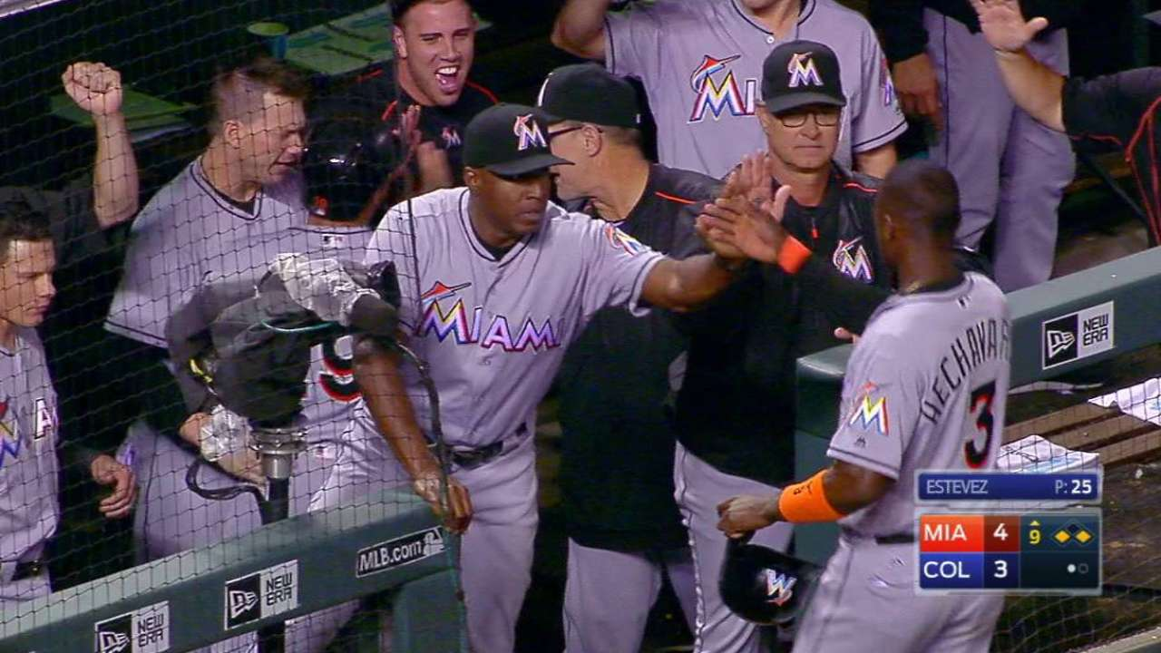 Marlins rally in 9th to turn tables on Rockies