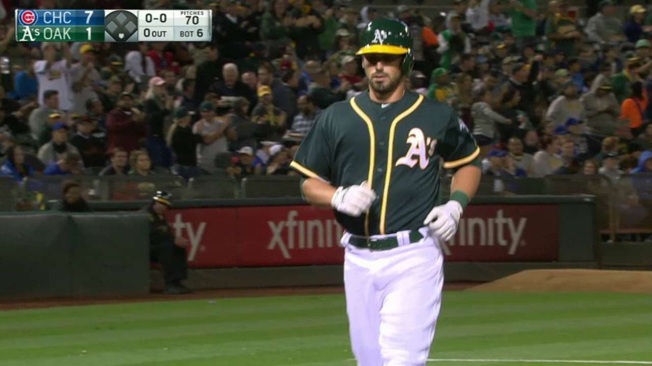 Eibner showcases power with homer in A's debut