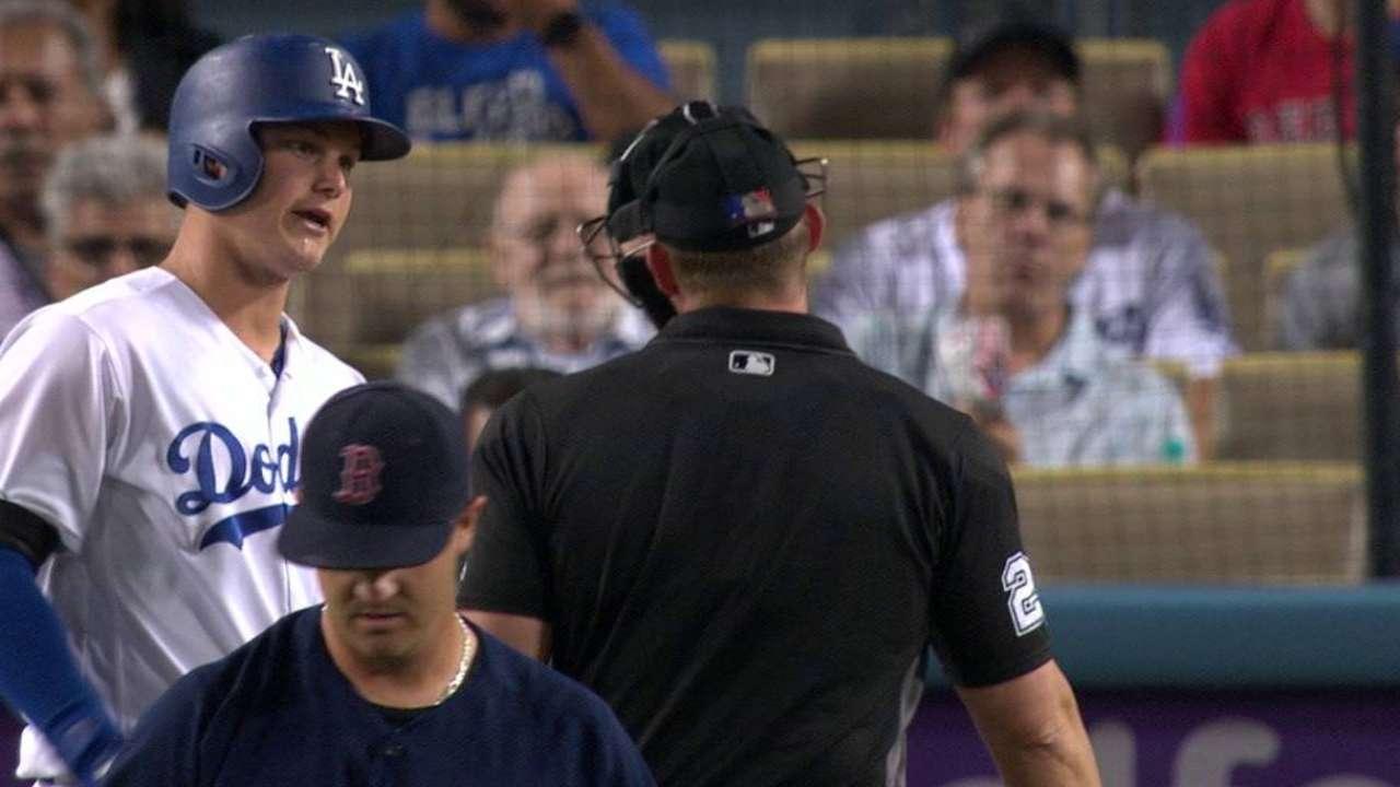 Pederson leans into a pitch