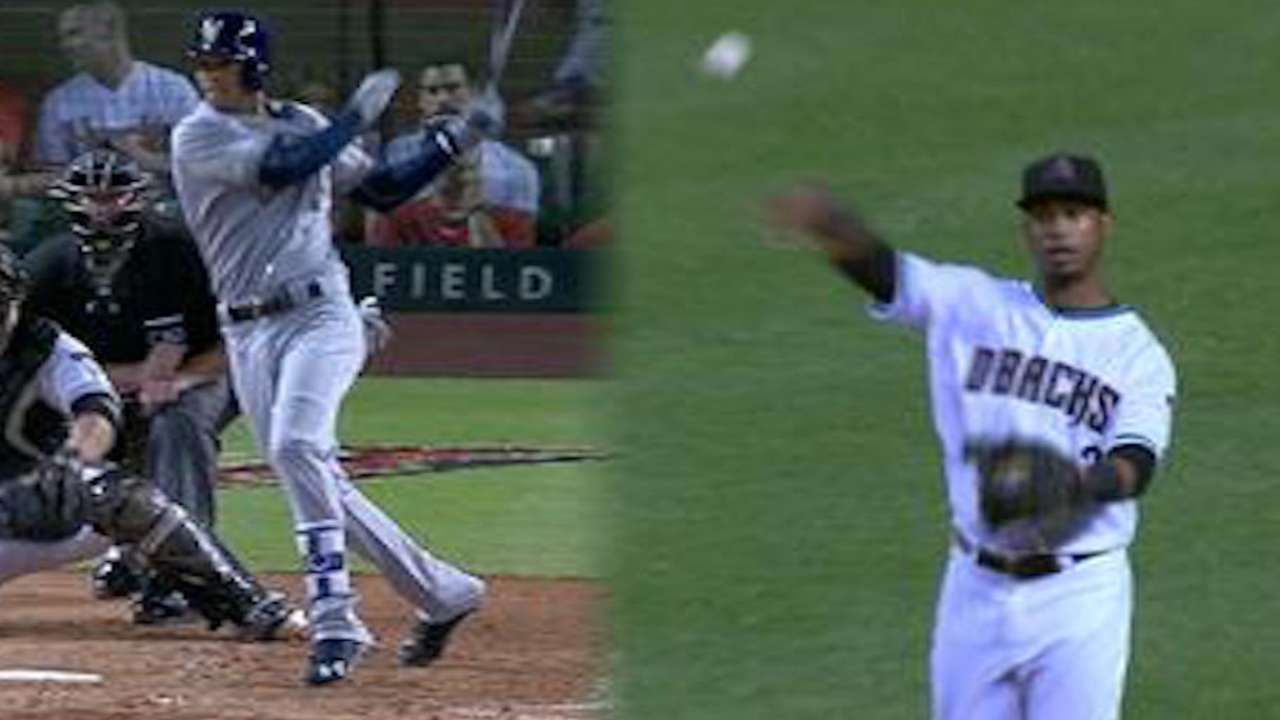 Arcia gets first RBI, extra bases on D-backs' gaffe