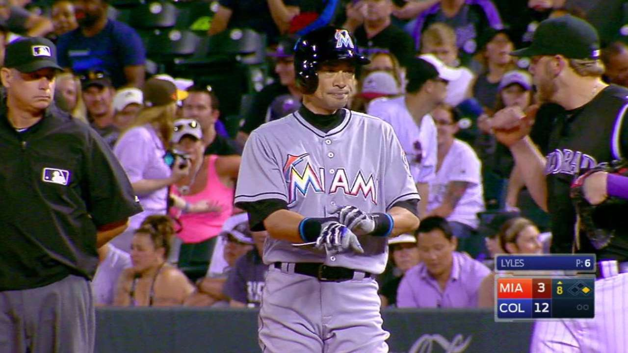 Ichiro eyes 3,000th hit in Marlins-Rockies rubber match