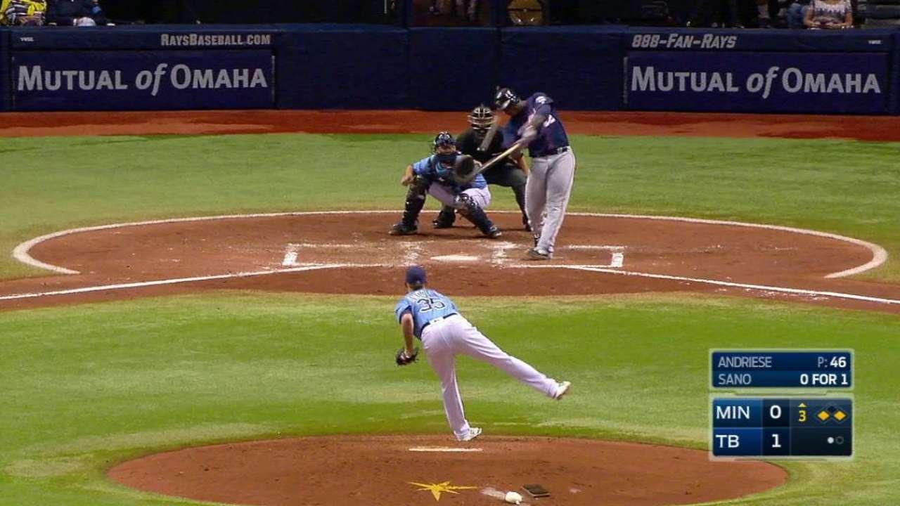 Sano's three-run homer off Andriese