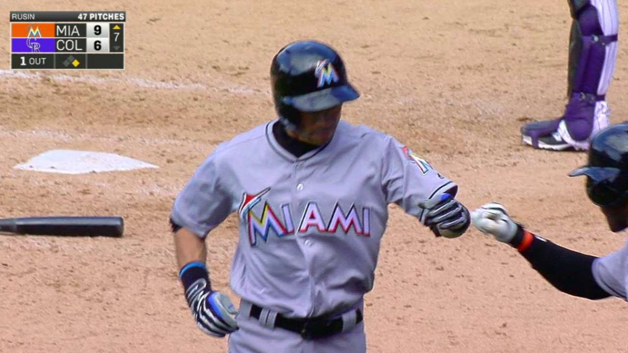Marlins roll on Ichiro's historic day