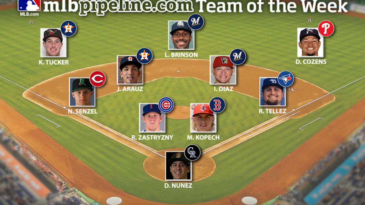 Astros, Brewers, first-rounder Senzel lead Team of Week