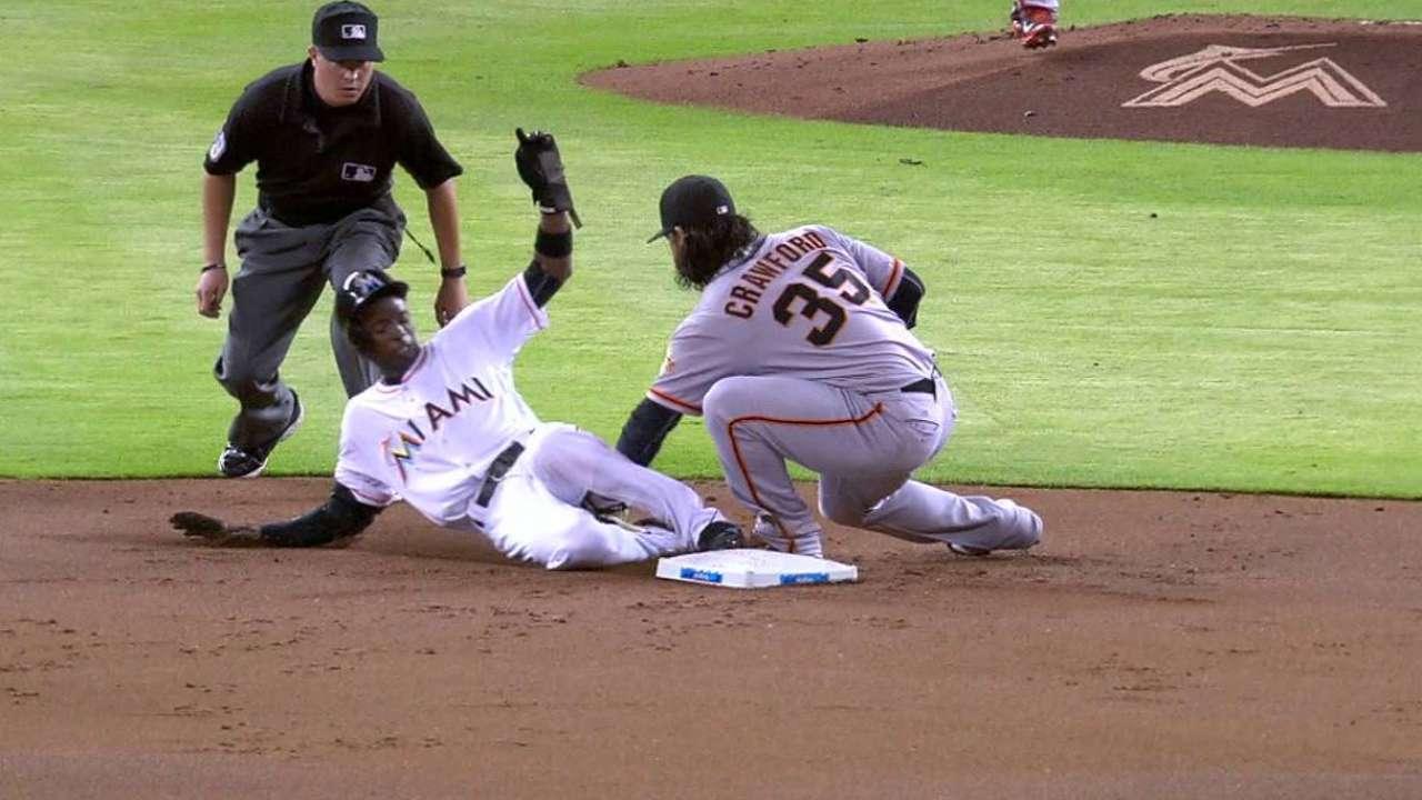 Gordon steals second base