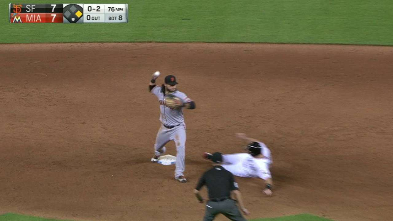 Posey starts a double play
