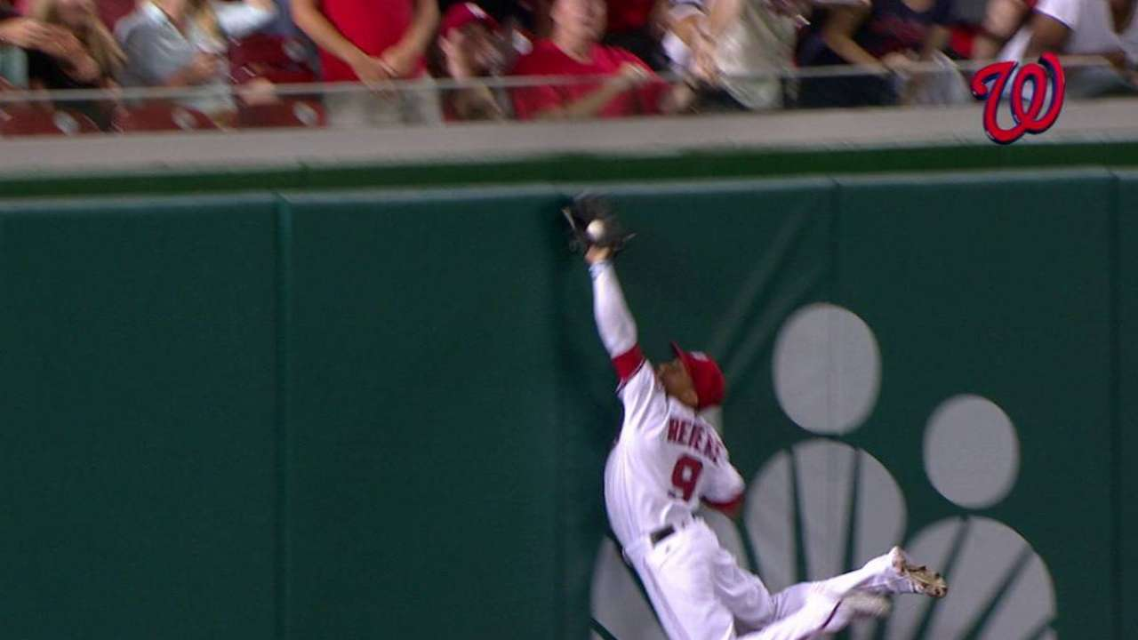 Revere has Scherzer's back, leaps to the wall for grab