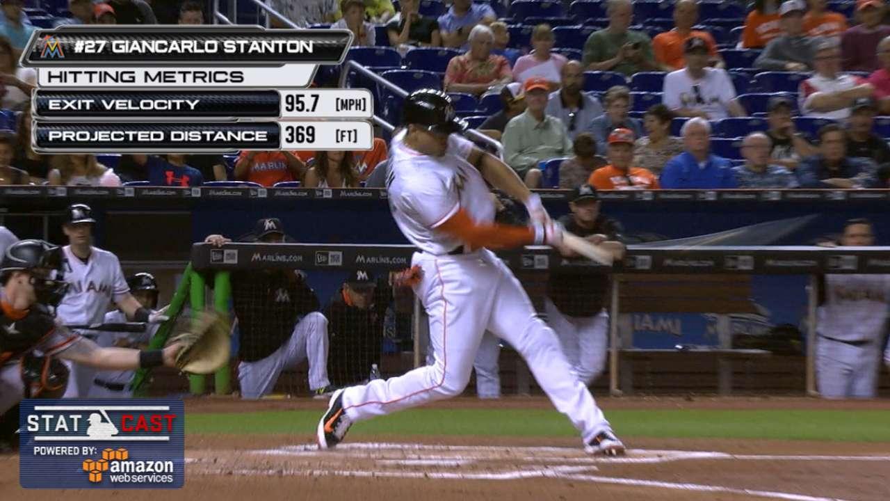 Statcast: Stanton breaks bat