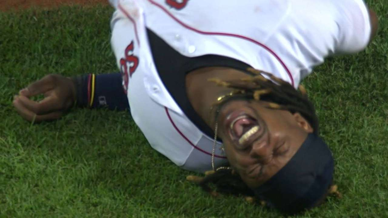 Hanley injured on nasty collision at first