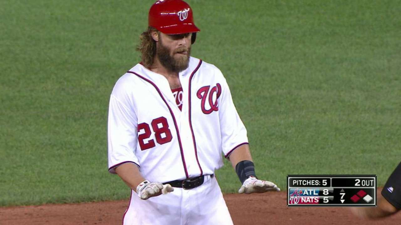 Werth's RBI double extends on-base streak to 41