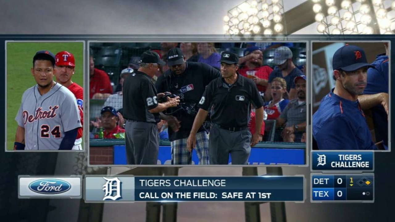 Tigers challenge call at first