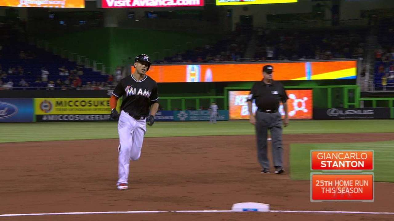 Stanton's big fly to left-center