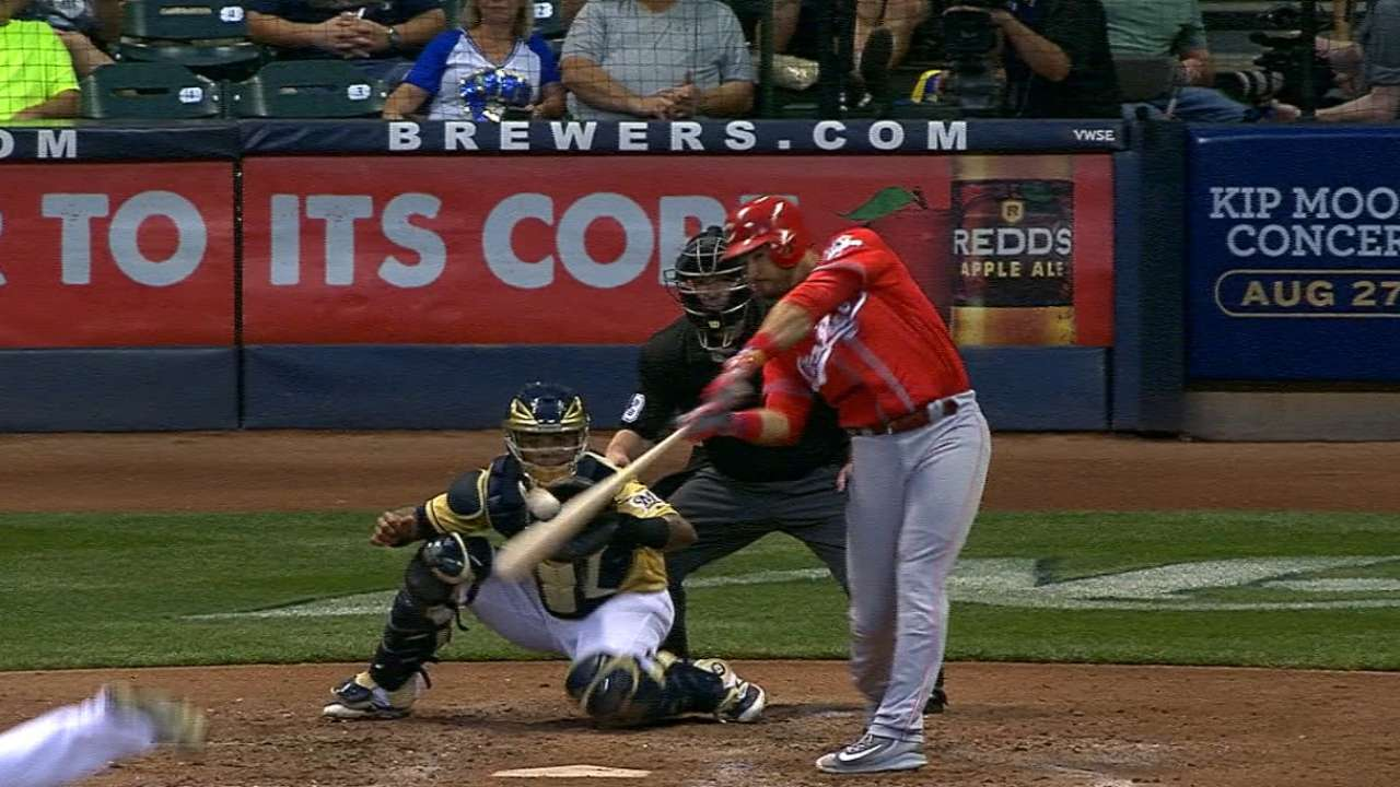 Reds ride 8-run inning to thump Brewers