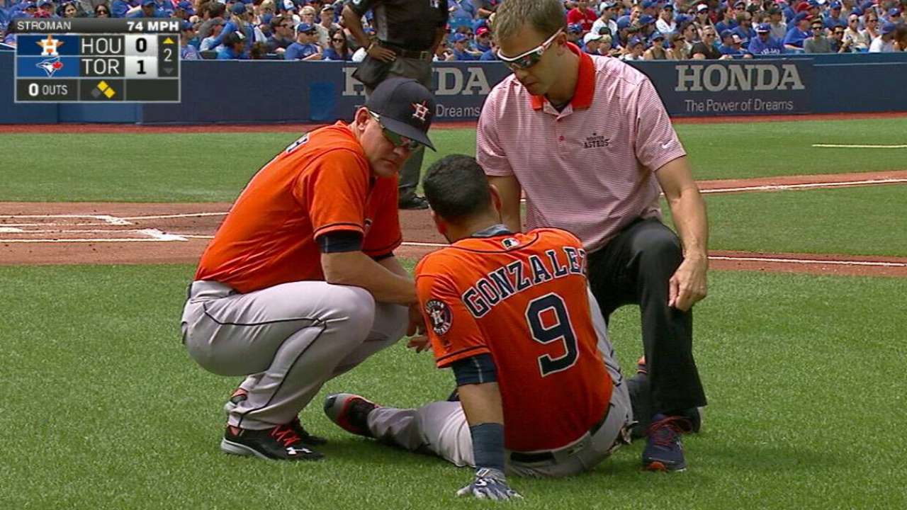 Gonzalez exits after HBP on knee