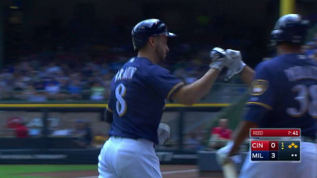 Braun scores on a hit-by-pitch
