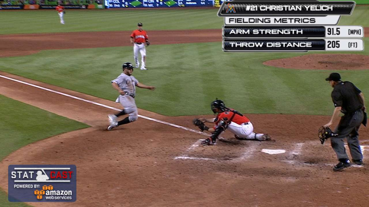 Throw down! Yelich nabs Sanchez at home for last out