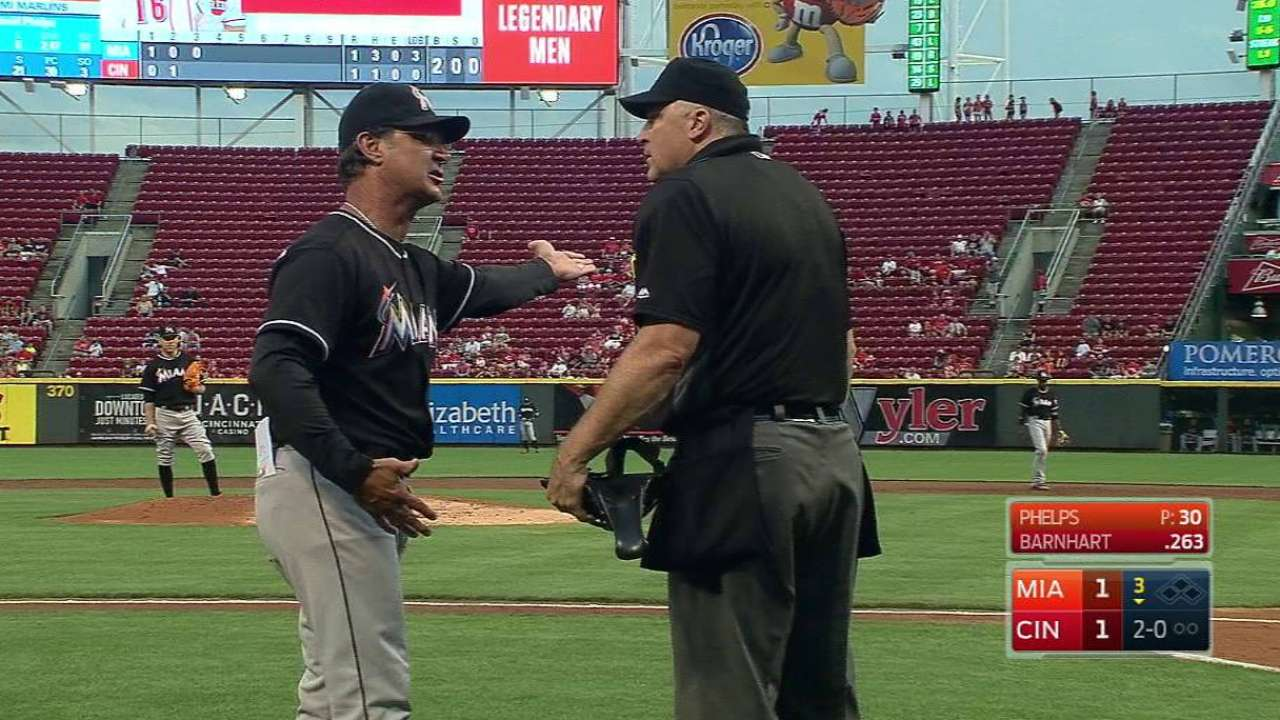 Mattingly ejected for arguing check-swing call