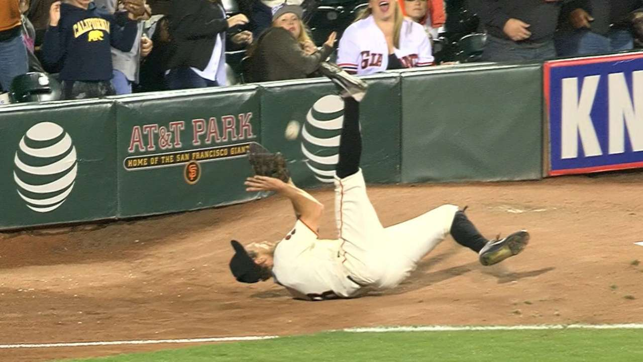Pence falls on rear, makes catch of year?