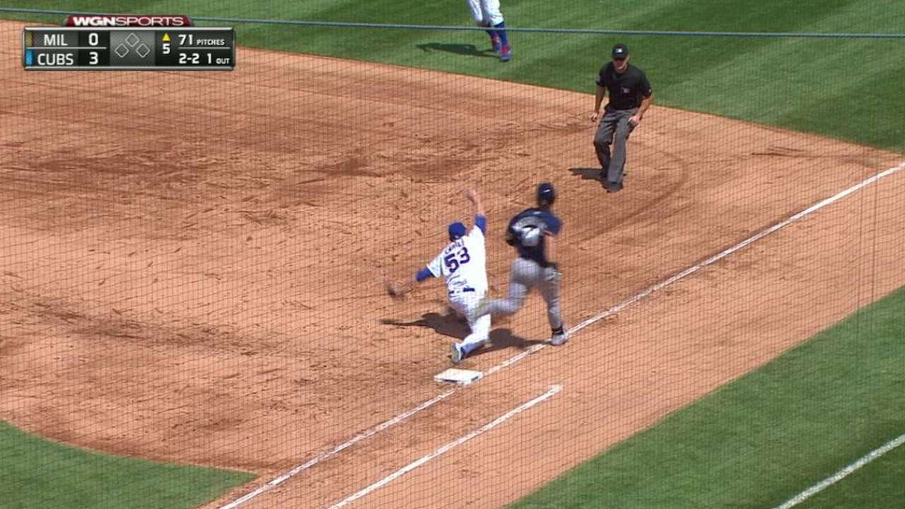 Rizzo lays out, Cahill stretches