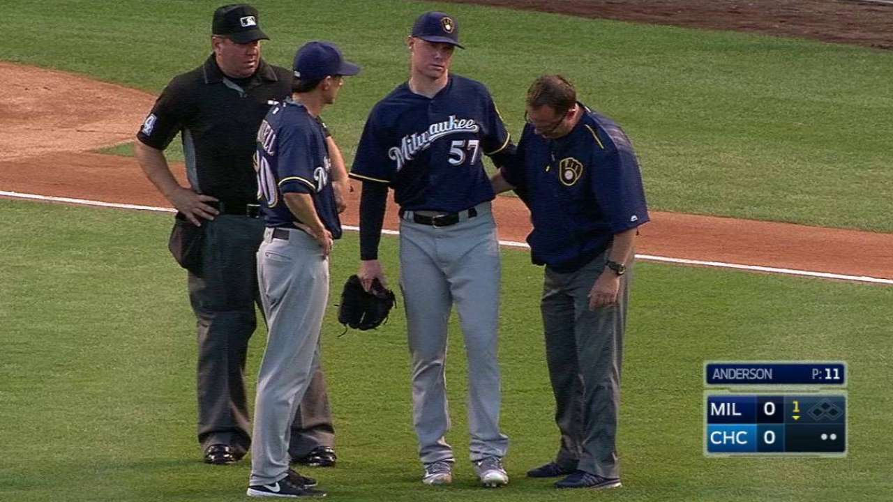 Brewers' Anderson exits after liner hits leg