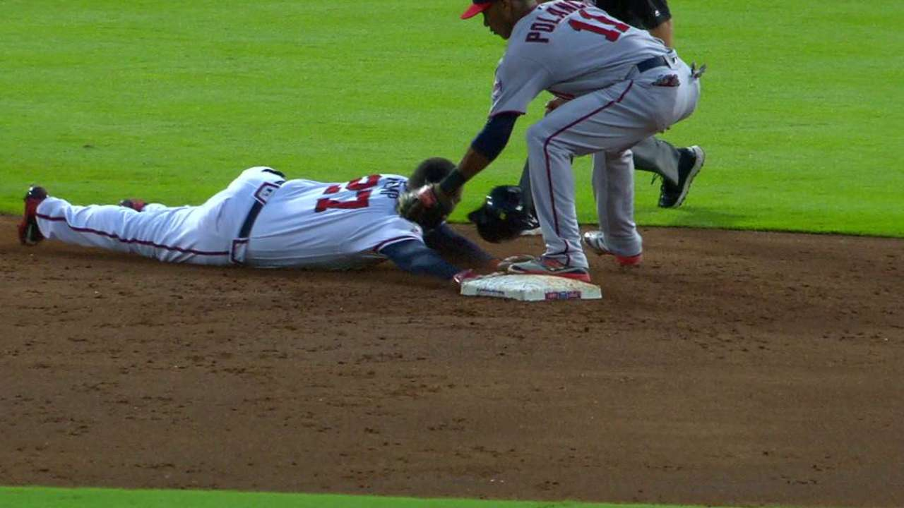 Braves challenge call at second