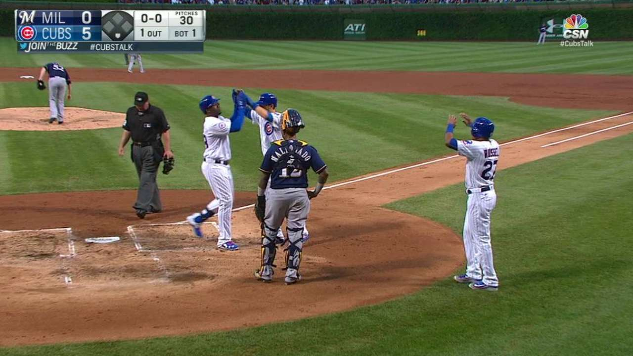 Bryant Homers Twice, Has 5 Hits as Cubs Sweep Brewers 9-6